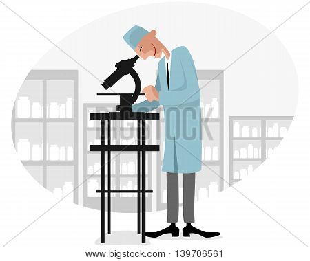 Vector illustration of a doctor in lab
