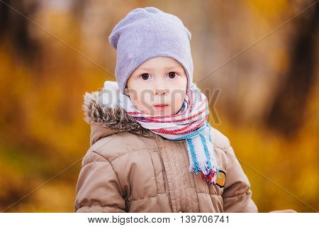 Portrait of a boy in the autumn forest yellow colors of autumn sunny day november warm clothes and a cap.