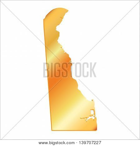 3D Delaware (USA) Gold outline map with shadow, vector