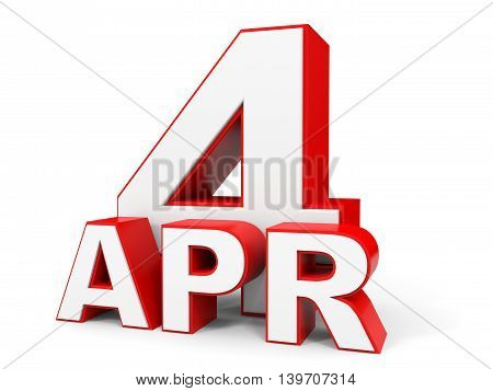 April 4. 3D Text On White Background.