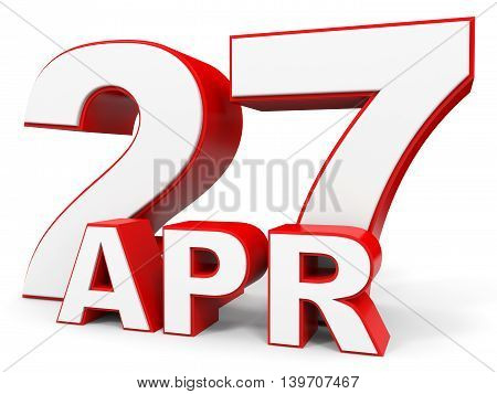 April 27. 3D Text On White Background.
