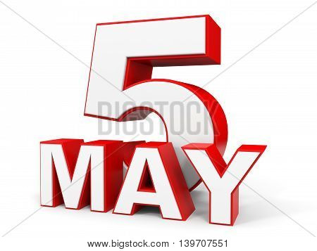 May 5. 3D Text On White Background.