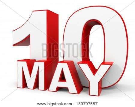 May 10. 3D Text On White Background.