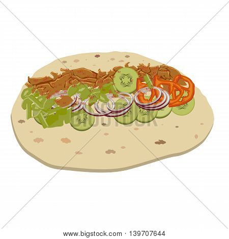 Doner with flat color design. Opened doner kebab