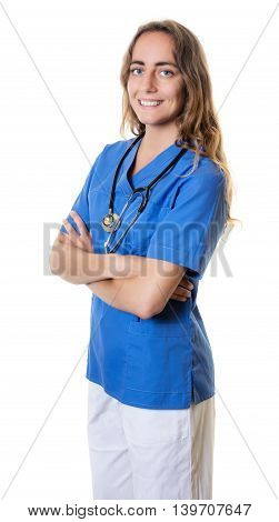 Laughing caucasian nurse with crossed arms on an isolated white background for cut out