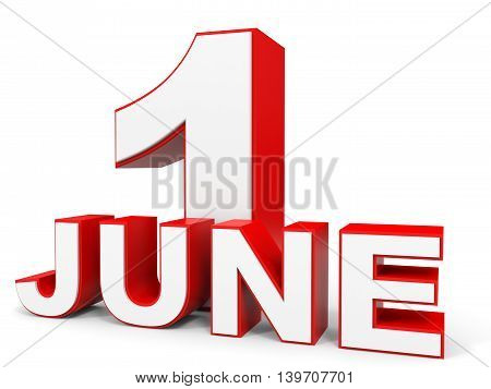 June 1. 3D Text On White Background.