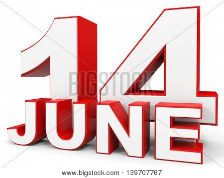 June 14. 3D Text On White Background.