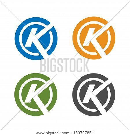 strong letter k with circle logo concept