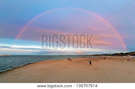 Rainbow on the beach in the Sopot near Gdansk. Poland