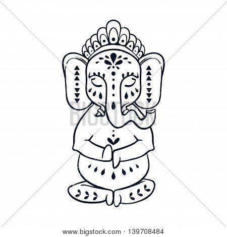 Card with elephant Ganesha Hindu god. Ornament background. Illustration for prints dress, coloring book. Animal vector pattern. Yoga studio and Happy Birthday Chaturthi
