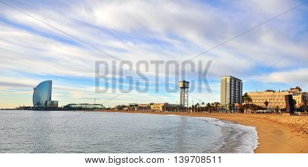 BARCELONA - DECEMBER 8: W hotel and Barceloneta district in Barcelona on December 8 2014. Barcelona is the second largest city of Spain.