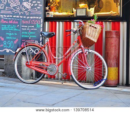 BARCELONA SPAIN - DECEMBER 12: Colorful bike at the local shop in the Born quarter Barcelona on December 12 2014.
