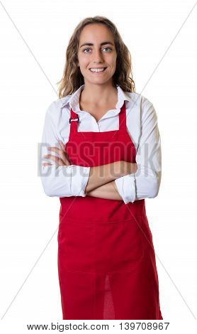 Caucasian waitress with crossed arms on an isolated white background for cut out