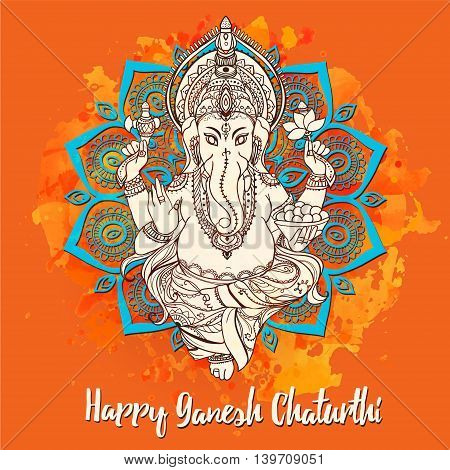 Ornament beautiful card with God Ganesha. Illustration of Happy Ganesh Chaturthi. God with elephant head. Illustration of Happy Ganesh Chaturthi, holiday, kaleidoscope,  medallion, yoga, india, arabic