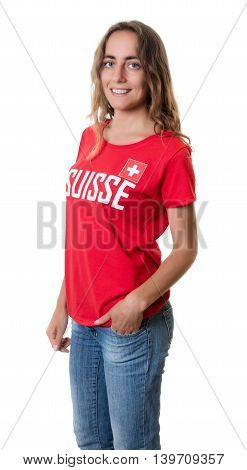 Standing female sports fan from Switzerland on an isolated white background for cut out