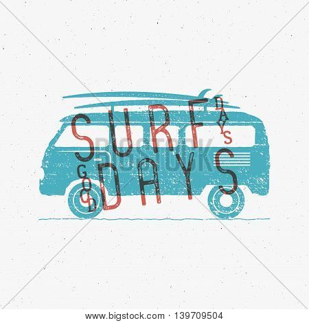 Vintage Surfing Graphics and Poster for web design or print. Surfer banner with van, rv and typography sign - surf days. Old style caravan car for prints, tee, t shirt. Vector.