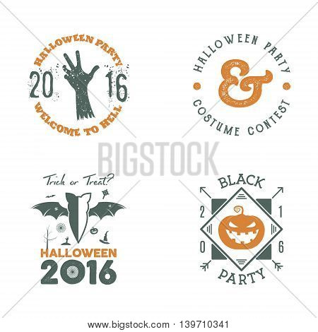 Halloween 2016 party label templates with scary symbols - zombie hand, bat, pumpkin and typography elements. Use for party posters, flyers, invitations. On t shirt, tee, clothing apparel.