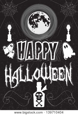 Poster in the style of drawing with chalk on a Halloween theme. Font composition lettering