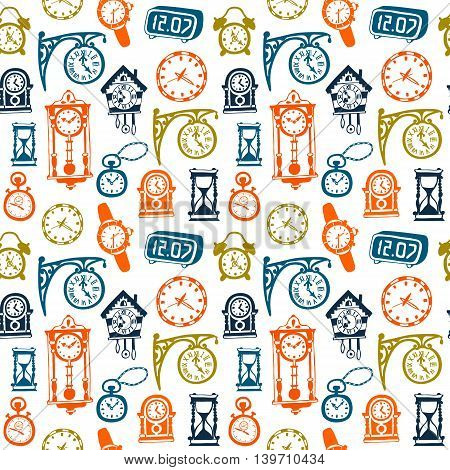 Seamless pattern with doodle watches and clocks. Can be used for textile website background book cover packaging.