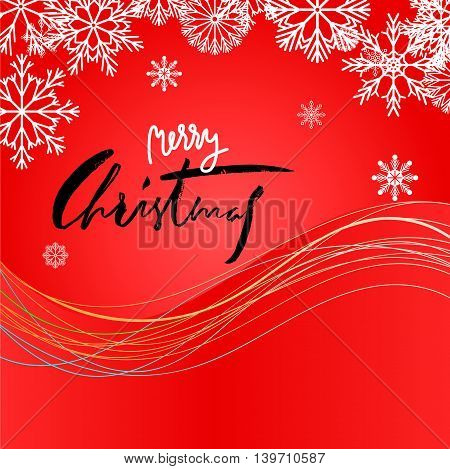 Elegant Red Christmas Snowflakes Card. Merry Christmas lettering. EPS10.