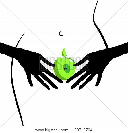 Forbidden fruit. Erotica. Vector format. Funny original creative vector illustration for web design and Polygraphy