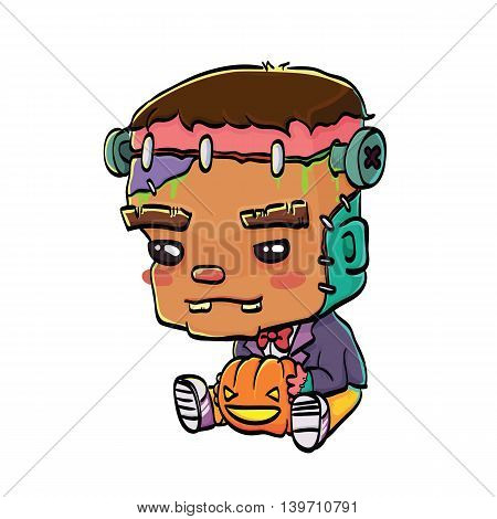 Vector Illustration of Cute Cartoon Character Frankenstein with Jack O' Lantern