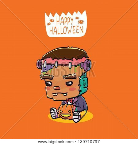 Vector Illustration of Cute Cartoon Character Frankenstein for Halloween Greeting Card