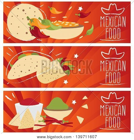 Set Of Banners For Theme Mexican Cuisine With Different Tastes Flat Design. Vector Illustration