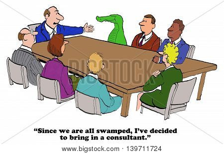 Business cartoon about a consultant who is going to help all the employees who are swamped with work.