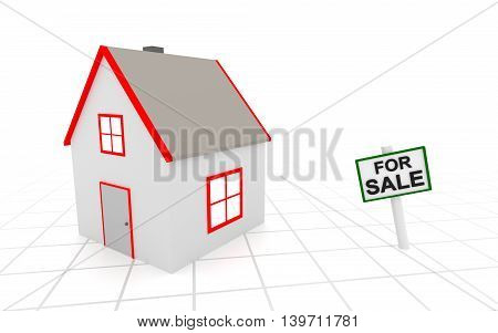 House for sale sign on white background. 3D rendering.