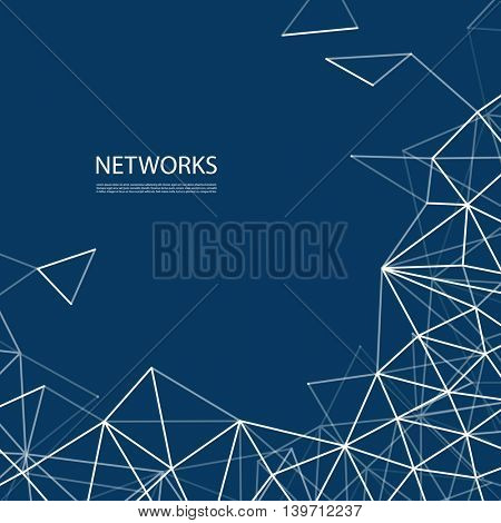 Networks, Connections Concept - Blue and White Mesh, Vector Background