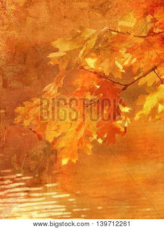 Nature fall background with leaves in grunge painting style - peaceful dreamy autumn landscape scenery