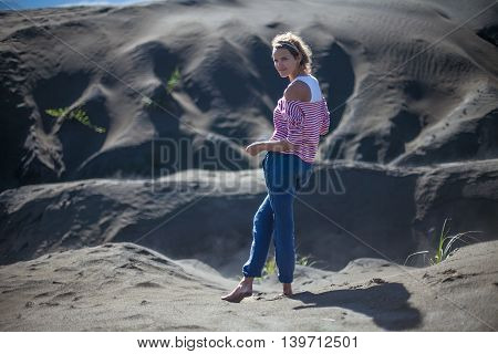 Portrait Young Pretty Girl Sunrise Desert.Asia Nature Morning Sands Viewpoint.Woman Engaged Yoga Meditation Practice.Horizontal Picture.Blurred Background