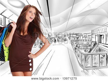 Mulher bonita de compra em um shopping de sorteio