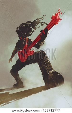 rocker guitarist playing red guitar, illustration, digital painting