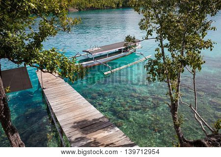 Photo Natural Wood Long Tail Boat Parked Caribbean Ocean Pier. Clear blue water. Horizontal
