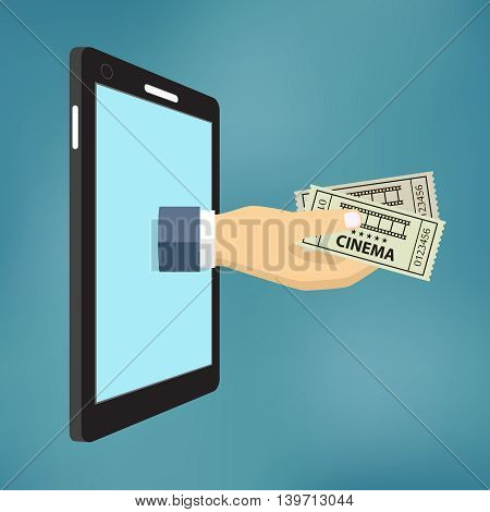 Online Ticket Order Concept. Mans Hand With Two Tickets Appeared From Smartphone.