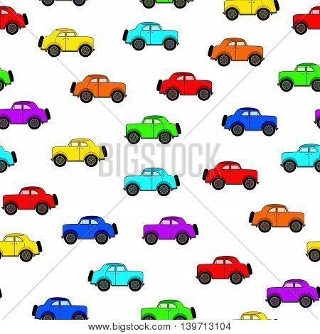 Seamless pattern with different colors cars in a cartoon style