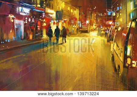 colorful city street at night, illustration, digital painting