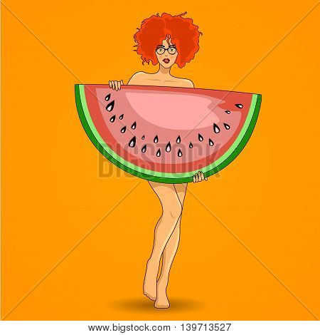 Pretty redhead woman poses with big watermelon. Vector illustration.