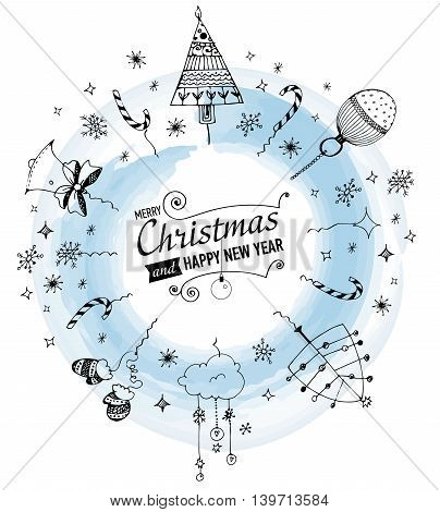 Merry Christmas and Happy New year Card with designed text.Hand drawn doodles. JPG version.
