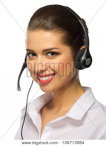 Tech support operator isolated on white
