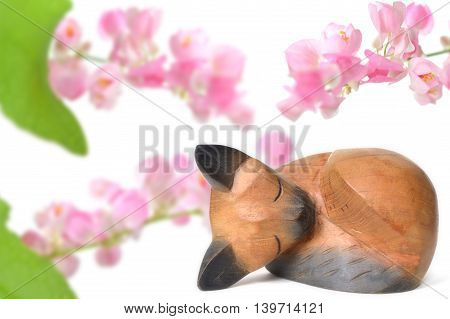 Thai wooden cat and Mexican creeper flower on white background