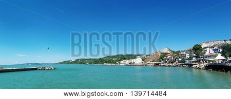 Clear morning panoramic view of the coast of Black Sea Balchik city Bulgaria