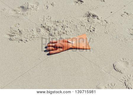 Pollution on the beach of Sylt island, Germany