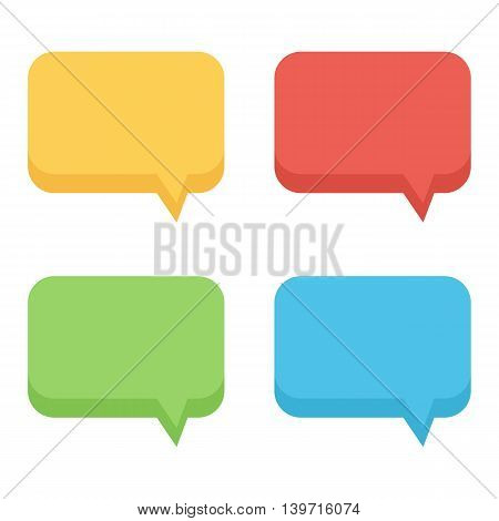 Colorful flat design empty speech bubbles set, collection isolated on white background.