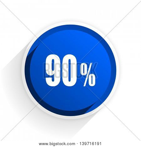 90 percent flat icon with shadow on white background, blue modern design web element