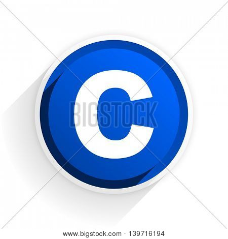 copyright flat icon with shadow on white background, blue modern design web element