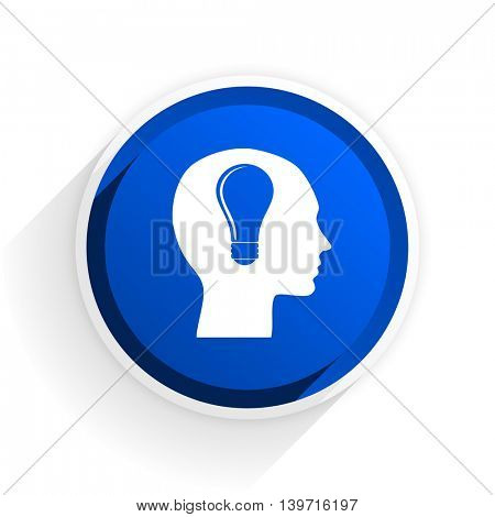 head flat icon with shadow on white background, blue modern design web element