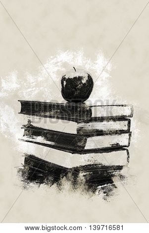 Stack of Old Books With an Apple on Top isolated on white. Vintage painting, background illustration, beautiful picture, educational texture